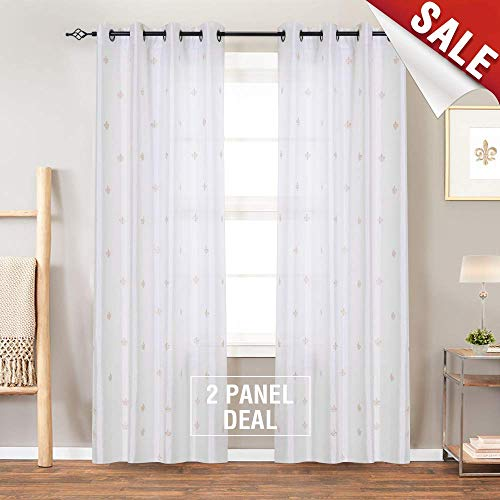jinchan Faux Silk Flur DE LIS Embroidered Sheer Curtains for Bedroom Embroidery Curtain for Living Room, 2 Panels, 84