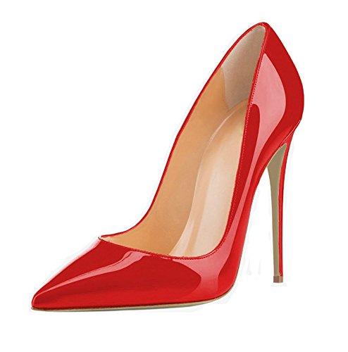 EDEFS Escarpins Grande Femme Aiguille High Vernis Taille Chaussures 120mm Sexy Rouge Talon Heel rrUqA