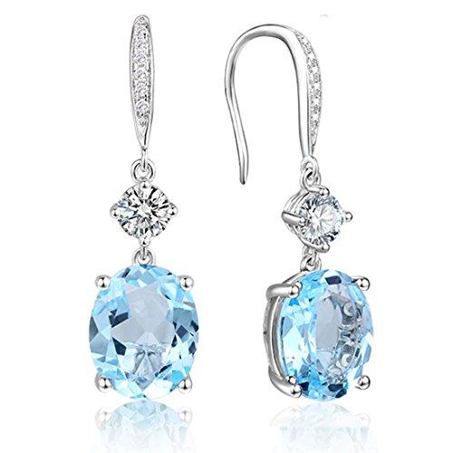 Blue Oval Drop Earrings - Sterling Silver Sky Blue Topaz Dangle Earrings Oval Cut March Birthstone Earrings for Women 6.9CT