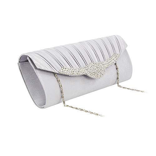 Silver Ruched Large Purse - Pinleg Fashion Women Cocktail Party Bag Solid Ruched Embroidery Chain Phone Evening Bag Women Clutch Purse Silver