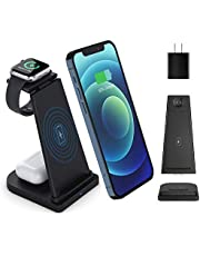 $29 » Detachable 3 in 1 Wireless Charger Stand, Qi-Certified 15W Fast Charging Station Compatible with iPhone 12/11/Pro Max/XR/XS/X/8 Plus, AirPods Pro/2,Apple Watch SE 6/5/4/3/2(with QC3.0 Adapter)