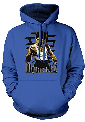 Amdesco Men's Officially Licensed Bruce Lee Fist Hooded Sweatshirt, Royal Blue Medium