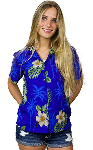 (King Kameha Funky Hawaiian Blouse Shirt, Shortsleeve, Small Flower, Darkblue, L )