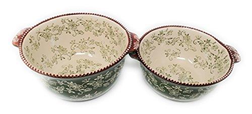 Temp-tations Set of 2 Bowls Nestable 2.5 Quart & 1.5 Quart w/ Plastic Covers (Floral Lace Green)