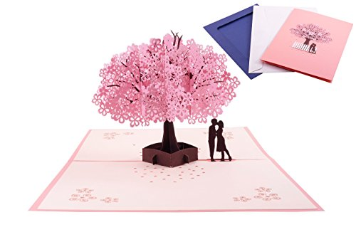 Cherry Blossom Pop Up Greeting Card - Romantic Happy Birthday Card, Gift Card, Valentines Day Card, 3D Card, Anniversary Card, Wedding Card With Envelope