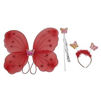 eDealMax niñas Hada de la Mariposa de alas de ángel Partido Varita Set del Vestido de