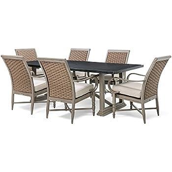 Blue Oak Outdoor Saylor Patio Furniture 7 Piece Dining Set (Rectangular  Natural Stone Top Dining