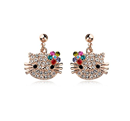 Rose Gold Plated Hello Kitty Multi-color Swarovski Elements Crystal Stud Earrings Fashion Jewelry for Girls (Hello Kitty Earring Set)