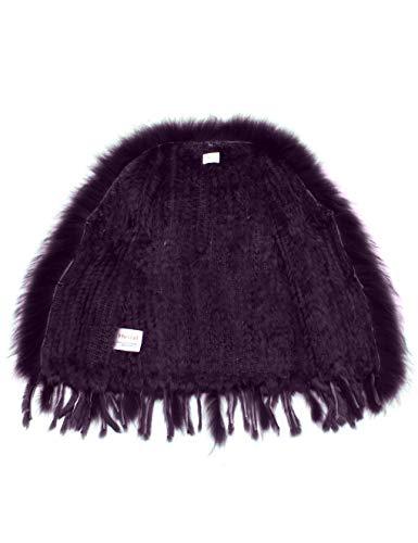 100 col de avec Veste Lapin Fourrure tricot Raccoon HEIZZI de 7caWcB