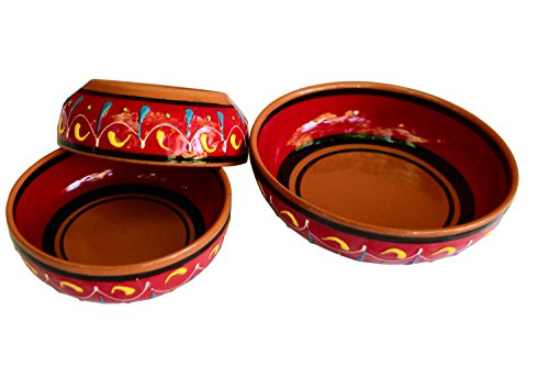 Terracotta Festive Set of 3 - Red - Hand Painted In Spain by Cactus Canyon Ceramics