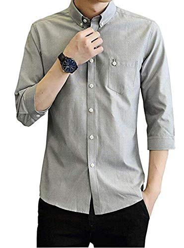 Young U Men's Casual Blouse Pinpoint Regular Fit 3/4 Sleeve Solid Button Down Dress Shirt (Grey, S)