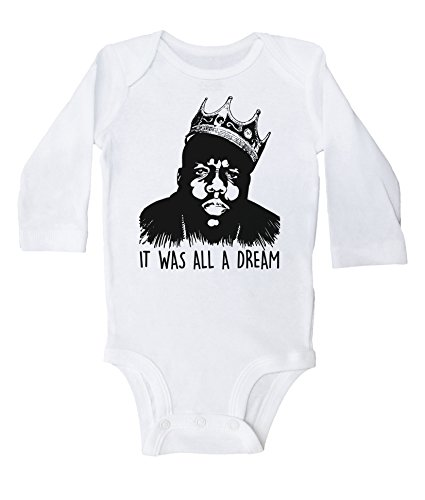 Baffle Biggie Smalls Baby Onesie/IT was All A Dream/B.I.G. Infant Bodysuit (3-6M, White LS)