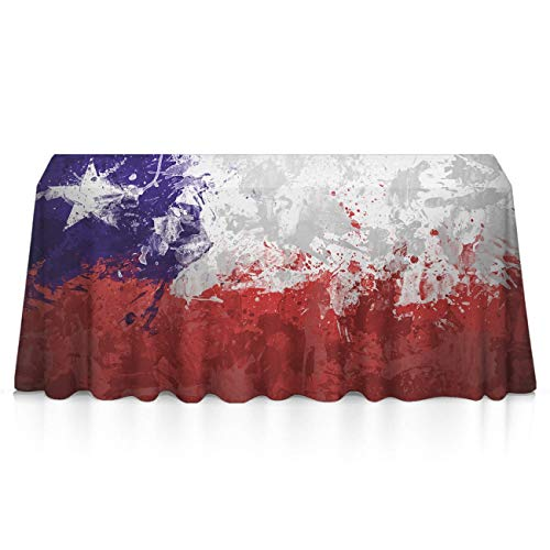 NiYoung Table Cloth, Spillproof Wrinkle Free Table Cover, Rectangular Drawing Chile Flag Art Machine Washable Table Toppers for Celebrations, Outdoor Party, DJ, Holidays ()