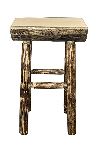 Montana Woodworks Glacier Country Collection Half Log Barstool with Exterior Stain Finish Log Bar Chair