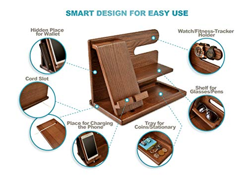 Wood Phone Docking Station Ash Key Holder Wallet Stand Watch Organizer Men Gift Husband Wife Anniversary Dad Birthday Nightstand Purse Father Graduation Male Travel Idea Gadgets