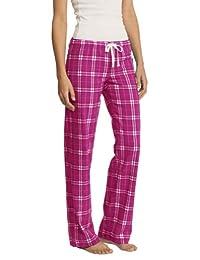 District Ladies Juniors Flannel Plaid Pant, Dark Fuchsia L