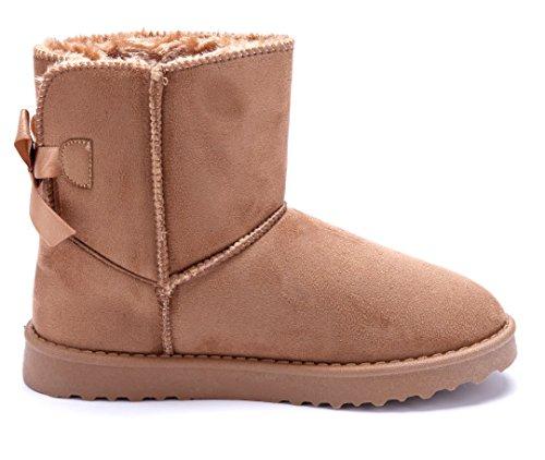 Emu Winterstiefeletten Schuhtempel24 Schuhe Damen Stiefel Boots Flach Zierschleife Camel Schlupf wgv8fqng