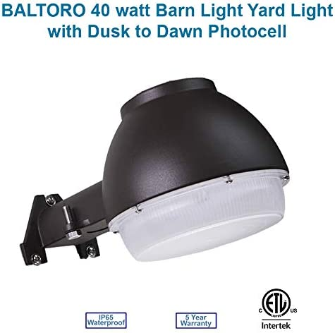 Baltoro Dusk-to-Dawn Outdoor Barn Light LED with Photocell, 5000K Daylight Bright Ideal for Yard Light, Barn Security Light, Flood Light 40w 400W Equiv. , Large Area Light, ETL-Listed Wet Location