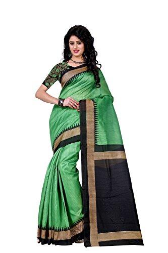 Trendz Cotton Silk Saree (Tz_Mayuri_Green_Green)