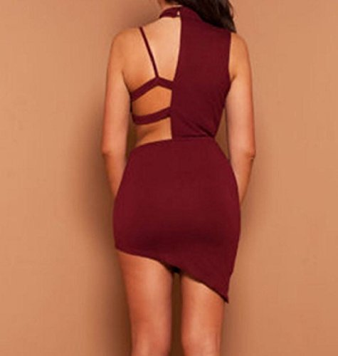 Wine Coolred Women Halter Out Dress Hollow Backless Red Sleeveless Party Evening Sexy rwxnxvq