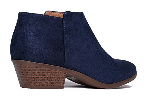 Western Lexy Casual Boot Micro Suede Bootie Closed Low Ankle Navy Heel Toe Adams Stacked J vwnSaxq51