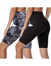 HLTPRO Women's High Waist Biker Shorts with Pockets, Workout Yoga Sports Shorts Slim fit Casaul Basic