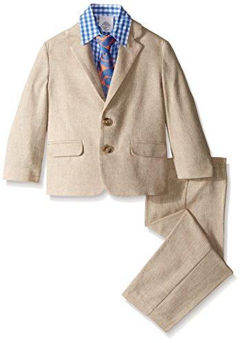 s' Toddler Herringbone Suit Set 3 Piece, Khaki, 4T ()