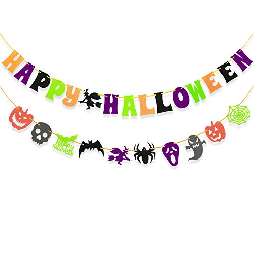 Happy Halloween Garland (Happy Halloween Letter Banner Bunting Colourful Flags with Bat Pumpkin Ghost Spider Switch Skull Garland,Halloween Party Decoration)