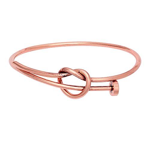 Twist Wire Bracelet - SENFAI Twist Knot Nail Bangle Heart Knot Bracelet Stack Bangle Cuff (Antique Copper)