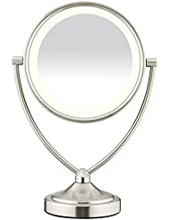 Conair Natural Daylight Double-Sided Lighted Makeup Mirror - Lighted Vanity Makeup Mirror; 1x/10x magnification; Satin Nickel Finish