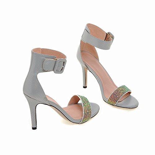 Carolbar Women's Chic Stylish High Heel Ankle Strap Buckle Fashion Sandals Grey TxsS9Ylsy