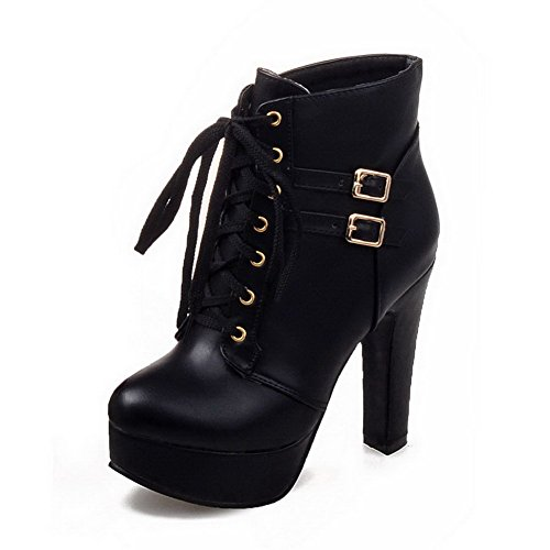 Top Women's Round Low Boots Solid PU Heels WeiPoot High Closed Black Toe xSX5dnTqp