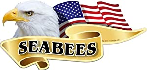 "ProSticker 924 (One) 3"" X 6"" American Pride Series ""Seabees"" Bald Eagle Decal Sticker by ProSticker.com"