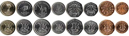 Uganda 8 UNC Coins 1-500 SHILLINGS 1987 Collectible Coins to Your Coins Album, Coin Holders OR Coin Collection