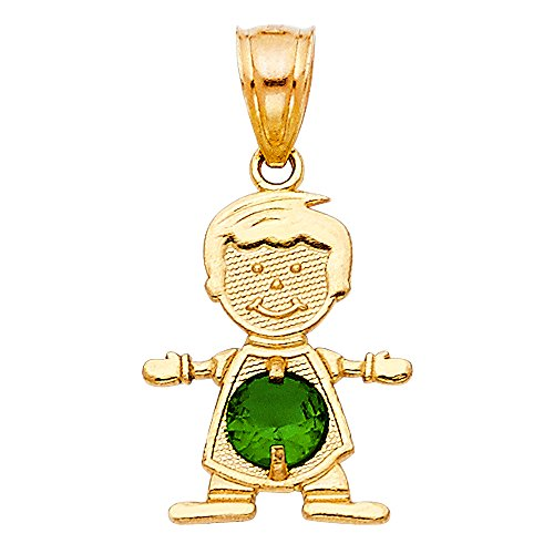 TagaDavao Collection 14K Yellow Gold Baby Boy Birthstone Pendant Charm All Months (05 emerald may)