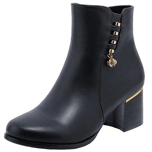 AIYOUMEI Damen Ankle Boots Blockabsatz Stiefeletten mit Strass Bequem  Herbst Winter Warm Stiefel Schuhe Schwarz de925566b9