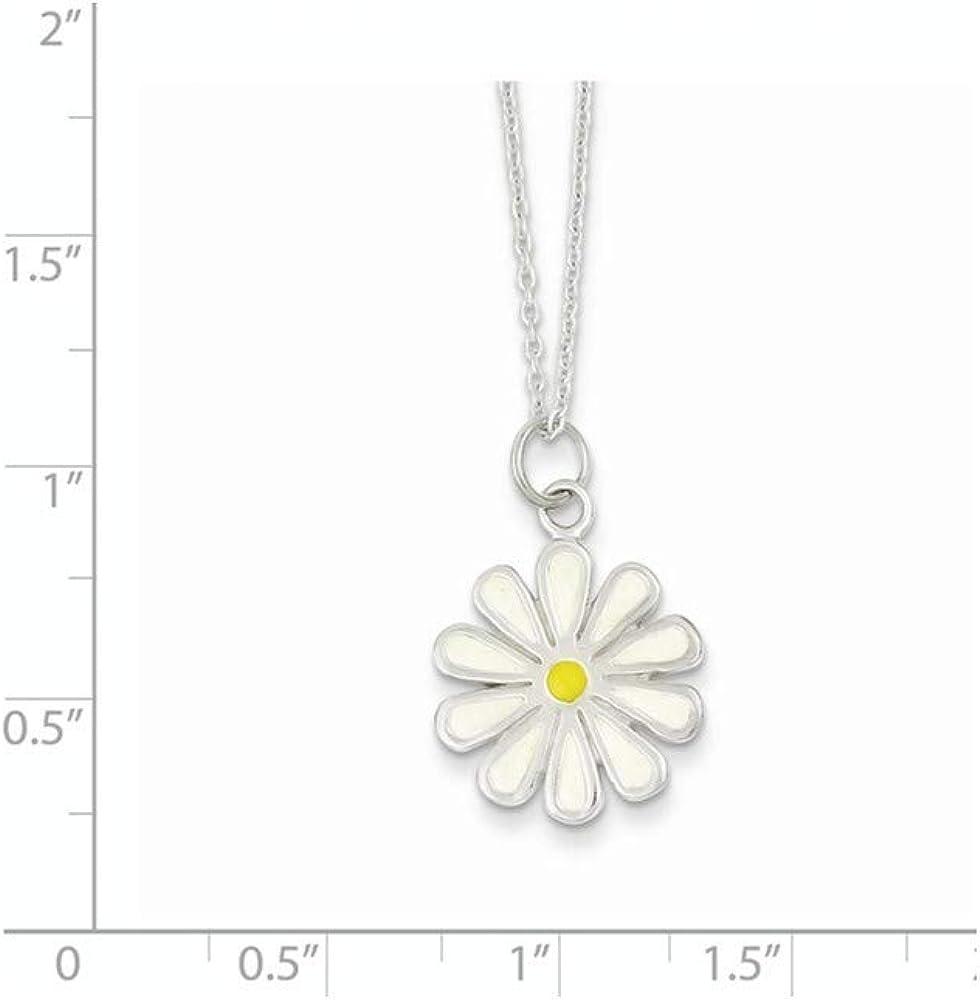 925 Sterling Silver Solid Enamel Polished Spring Ring Flower Necklace 18 Inch