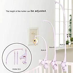 SHILOH Baby Crib Mobile Music Box and Holder Arm Bracket Nut Screw Box Without Toys, White