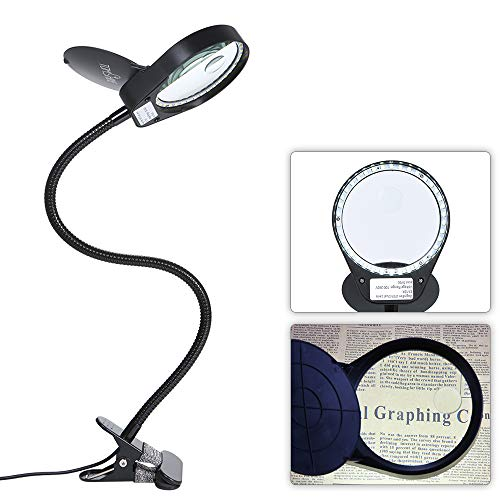 - Tomshine Dimmable LED Lighted Magnifying Glass Lamp Mental Clamp 3X/10X Full Spectrum Daylight Desk Magnifier with Light Hands Free for Table Reading Close Work Bench Task Craft