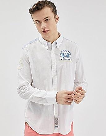 La Martina Camisa Casual - Blusa - Para Hombre Blanco S: Amazon.es: Ropa y accesorios
