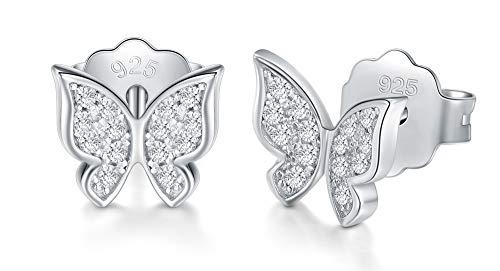 (925 Sterling Silver Stud Earrings, BoRuo Cubic Zirconia Butterfly)