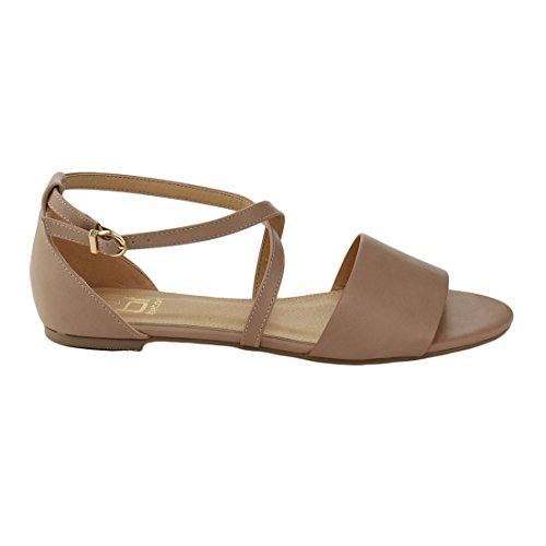 Betani EL78 Womens Peep Toe Criss-Cross Ankle Buckle Strap Flat Sandals Old Pink qb1h9q