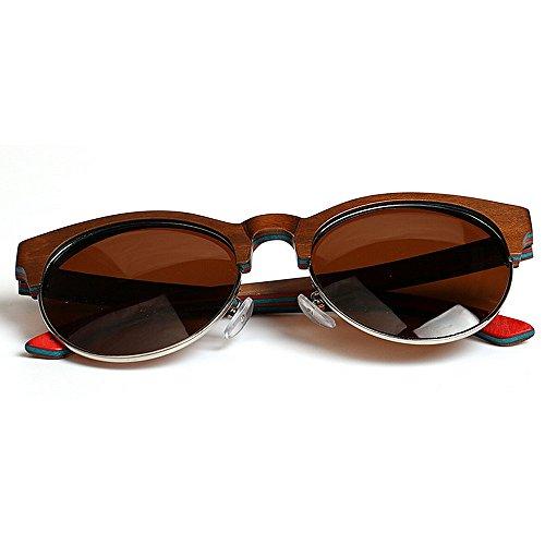Soleil Lunettes Aviator Soleil de Blue Yxsd Brown Couleur Outdoor Vintage Retro Lunettes de Wayfarer Sports UV400 en Bois xECRgBwq