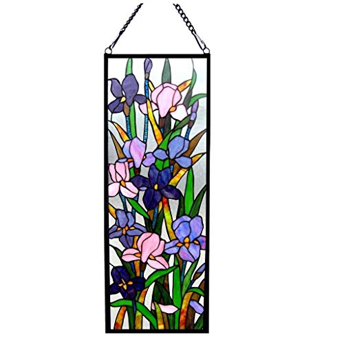Chloe Tiffany Style Iris Floral Design Window Panel/Suncatcher - M
