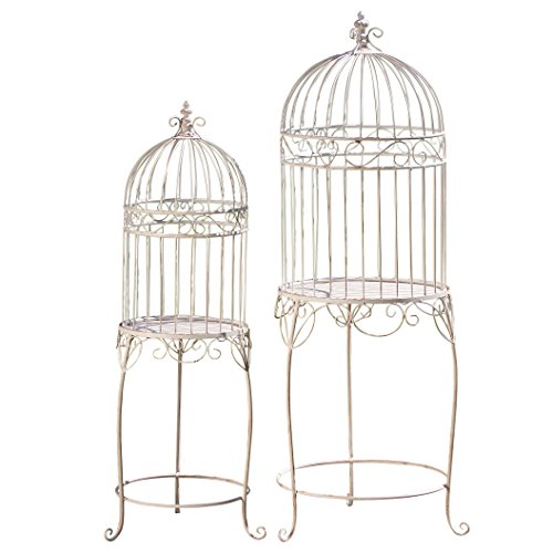Cage Scrollwork (The Farmers Market Decorative Bird Cage Plant Stands, Set of 2, Pedestal Tables, Lift Off Tops, Distressed, Vintage Style, Iron, 17¾ D x 49¼ H Tall And 12½ D W x 40¼ H, By Whole House Worlds)