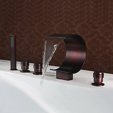 Mlfalls New Bathroom Designs Five Holes Deck Mount Oil-Rubbed Bronze Faucet with Hand Shower by FAUCET&YAMEIJIA