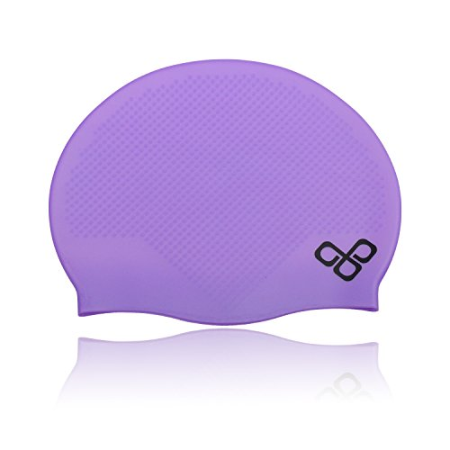 Cool Fully Waterproof Adult Swimming Cap That Doesn't Leak & Keeps Short Hair Dry Best for Men (Male) and Women (Ladies) - 100% Soft Silicone Material - Lifetime Warranty! (Purple)