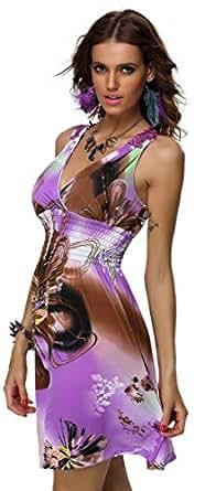 High Waist Low V Neckline Colorful Women Girls Summer Dress