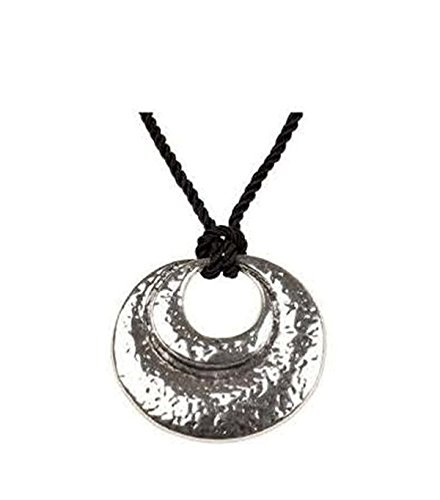 Pendant Necklace for Women-Girls Surgical Stainless Steel Hypoallergenic Rhodium Plated Double Round Hollow Out with Thread Chain Princess Fashion Necklace -