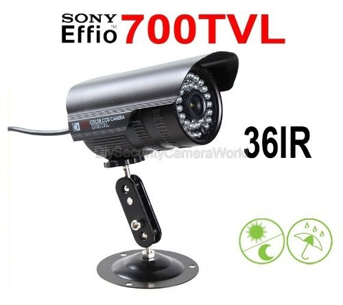 700TVL Outdoor/Indoor Waterproof Day Night Vision Infrared Bullet Security Camera CCTV IR LEDs 6mm Fixed Lens 15~30M IR Distance for Home Video DVR Surveillance System-Black [並行輸入品] B01MS3C6FQ